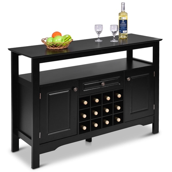 Shop Gymax Storage Buffet Sever Cabinet Sideboard Table ...