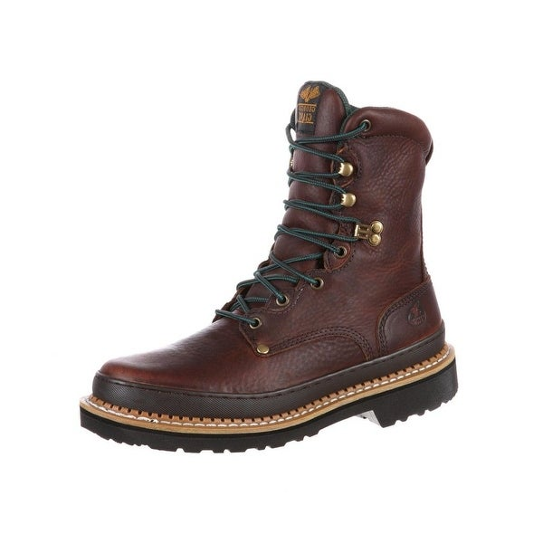"""Georgia Boot Work Mens 8"""" Giant Goodyear Leather Soggy Brown"""