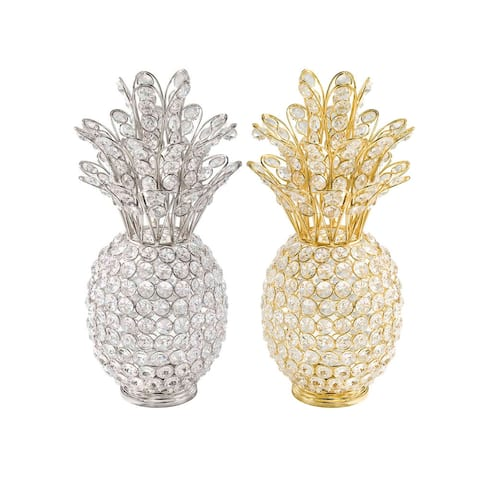 HomeRoots 12.5-inch Sparkling Modern Crystal Pineapple Accent Piece - 12.5 x 6 x 6