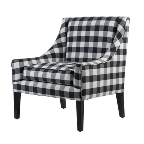 A&B Home Upholstered Black and White Plaid Arm Chair