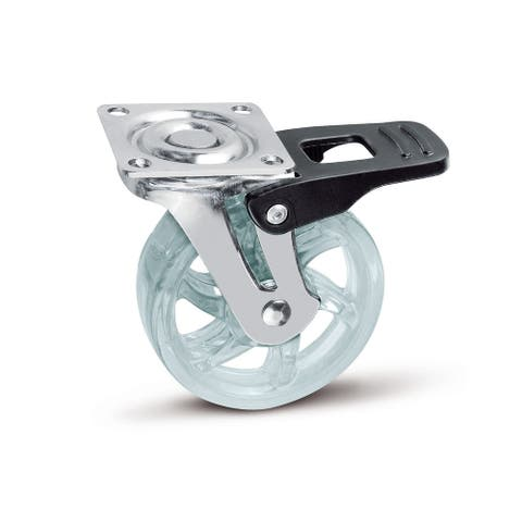 "Richelieu 64125011 Contemporary Series 2-15/16"" Diameter 66 lbs Max Weight Caster with Square Mounting Plate and Brake"