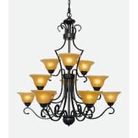 "Harrison Lane J2-1053 12 Light 36"" Wide 3 Tier Chandelier with Yellow Glass Shades"