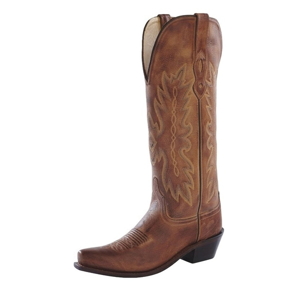 Old West Cowboy Boots Womens Tall Snip Leather Tan Canyon