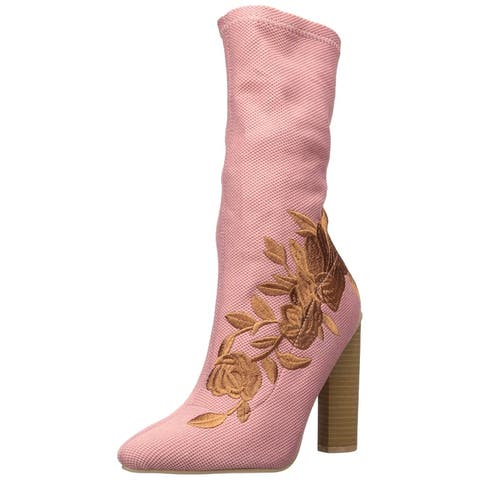Qupid Womens PARMA-08 Fabric Pointed Toe Mid-Calf Fashion Boots