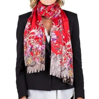 Roberto Cavalli Women's Floral Print Silk Scarf Large