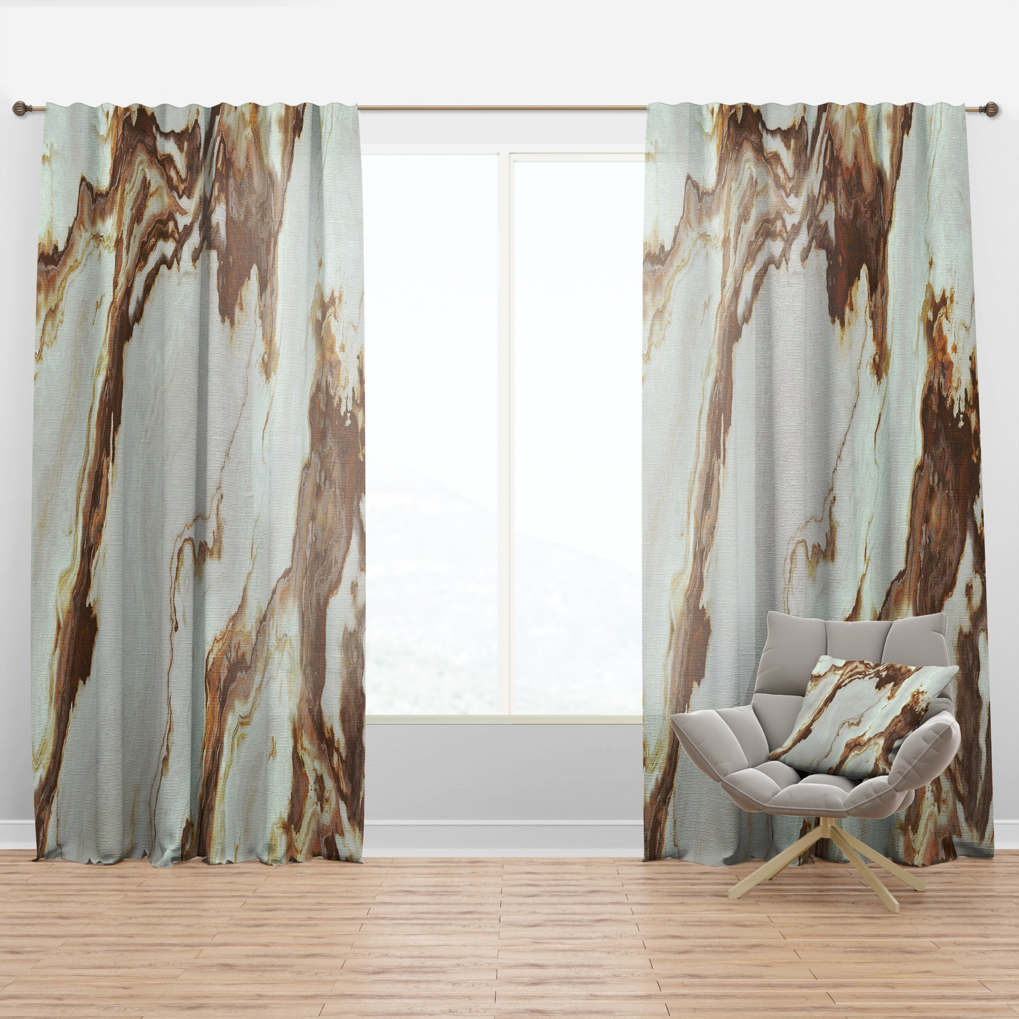 Image of: Shop Black Friday Deals On Designart Natural Onyx Texture Mid Century Modern Curtain Panel Overstock 29625512