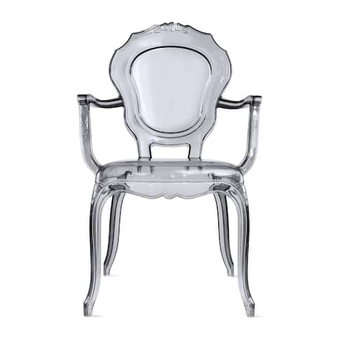 Designer Stacking Transparent Molded Plastic Dining Chairs With Arms Backs Crystal For Kitchen Desk Bedroom Outdoor Patio Indoor