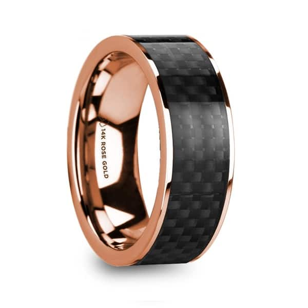 Iorgos Polished 14k Rose Gold Men S Wedding Band With Black Carbon Fiber Inlay 8mm Overstock 27256875