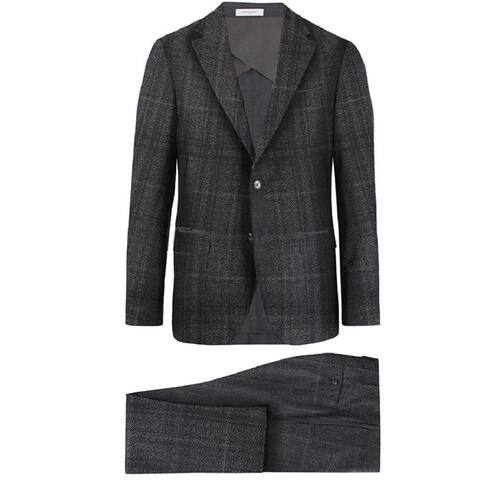 Boglioli Mens Gray Check Plaid Suit