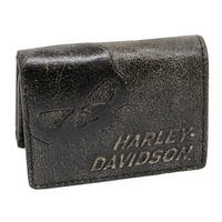 "Harley-Davidson Men's Burnished Tri-Fold Skull Wallet Leather BM2647L-TanBlk - 4.75"" x 3.75"""