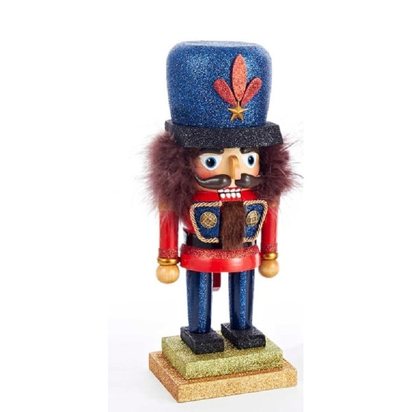 """11.5"""" Hollywood Traditional Red and Blue Chubby Stout Wooden Christmas Nutcracker"""