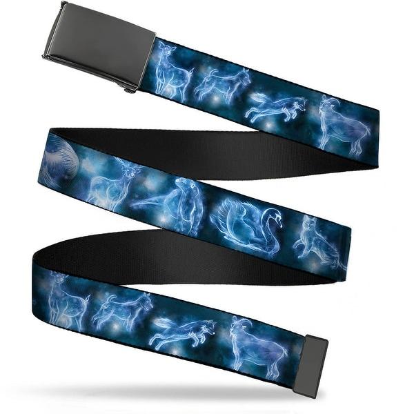 "Blank Black 1.25"" Buckle Harry Potter Animal Spirits Black Blue Webbing Web Web Belt 1.25"" Wide - M"