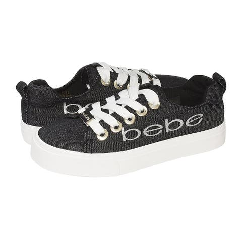 bebe Girls Big Kid Denim Fashion Sneakers Tie Up Slip On With Laces
