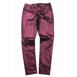 Tinseltown Juniors Burgundy Metallic Coated Skinny Jeans 5