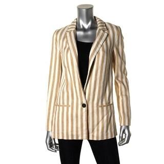 Zara Basic Womens Striped Long Sleeves One-Button Blazer