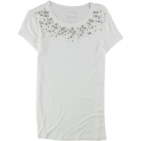 I-N-C Womens Embellished Basic T-Shirt, White, X-Small