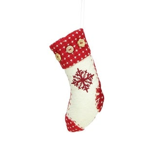 """7.5"""" Plush Snowflake Embroidered Holiday Stocking with Button Cuff Decorative Christmas Ornament"""