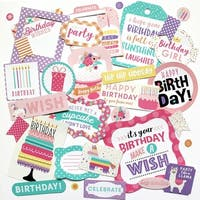 Happy Birthday Girl Cardstock Die-Cuts 33/Pkg-Icons