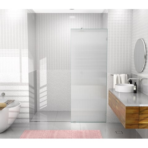"""Glass Warehouse 30"""" x 78"""" Frameless Shower Door - Single Fixed Panel Fluted Frosted"""