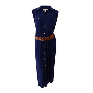 Michael Michael Kors Plus Size Maxi Shirtdress (3X, True Navy) - True Navy - 3x