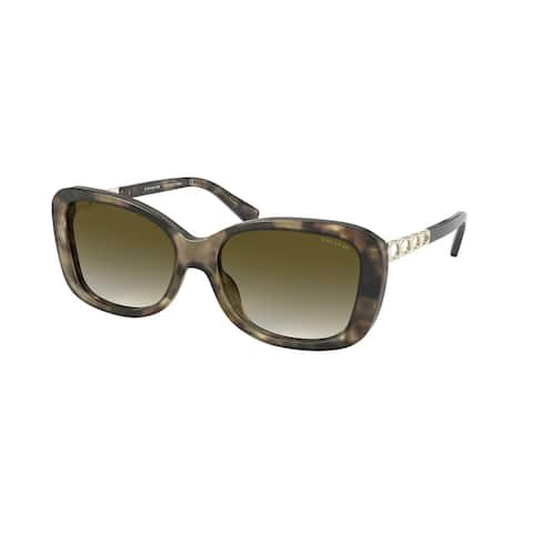 Coach HC8286 55927Z 57 Green Tortoise Woman Rectangle Sunglasses