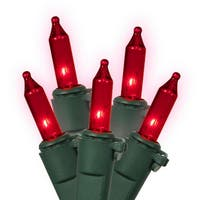 Set of 150 Heavy Duty Red Mini Christmas Lights - Green Wire Connect 6