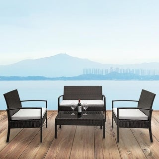 Link to Outdoor Patio Rattan Wicker 4-piece Chair with Coffee Table Set Similar Items in Outdoor Coffee & Side Tables