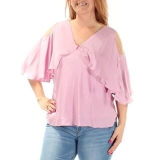 RALPH LAUREN $155 Womens New 1391 Purple Cut Out 3/4 Sleeve V Neck Top L B+B