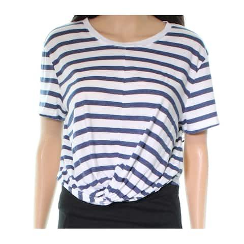 Splendid Blue Striped Twist Knot Hem Women Large L Knit Top Shirt