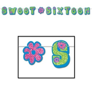 """Club Pack of 12 Green and Pink """"Sweet Sixteen"""" Glittered Streamer Hanging Decorations 10'"""