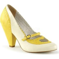 Pin Up Couture Women's Poppy 18 Mary Jane Pump Yellow/Cream Faux Leather