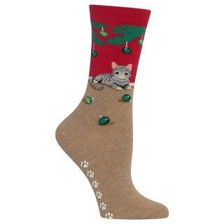 Hot Sox Women's Christmas Cat Non Skid Socks - Red