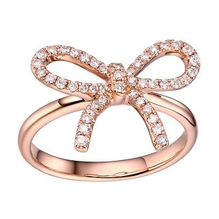 Prism Jewel 0.33Ct Round G-H/SI1 Natural Diamond Ribbon Bow Ring - White G-H