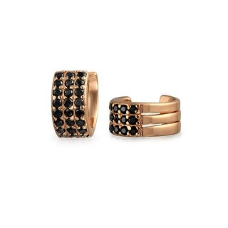 Bling Jewelry Black CZ Rose Gold Plated Sterling Silver Ear Cuff Earrings