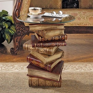 Design Toscano Power of Books Sculptural Glass-Topped Side Table