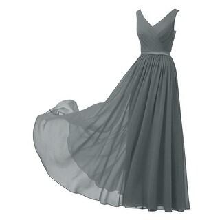 Alicepub Women's Dress Cool Smoke Gray Size 8 Chiffon Satin Gown