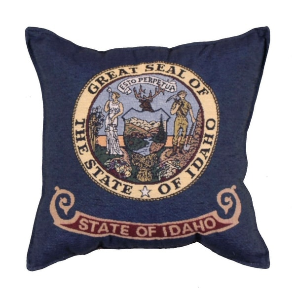 "Set of 2 Navy Blue and Custard Yellow ""State of Idaho"" Decorative Throw Pillows 17"""