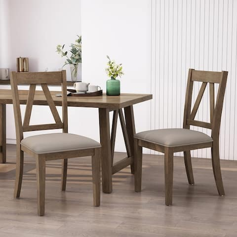 """Fairgreens Farmhouse Upholstered Wood Dining Chairs (Set of 2) by Christopher Knight Home - 20.00"""" L x 22.75"""" W x 39.00"""" H"""