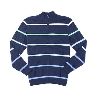 Club Room NEW Blue Mens Size 2XL 1/2 Zip Ombre-Striped Silk Sweater
