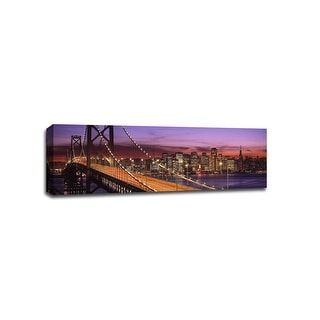 San Francisco - Bay Bridge - Cityscapes - 48x16 Gallery Wrapped Canvas Wall Art