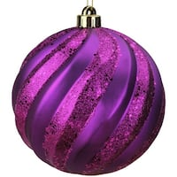 "Plum Purple Glitter Swirl Shatterproof Christmas Ball Ornament 6"" (150mm)"