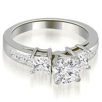 1.50 cttw. 14K White Gold Channel Princess and Round Diamond Engagement Ring