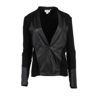 Pure DKNY Womens Lamb Leather Long Sleeves One-Button Blazer - L