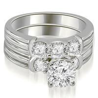 1.75 cttw. 14K White Gold Prong Set Round Cut Diamond Bridal Set