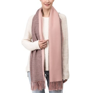 "Link to Glitzhome 73""L Pink and Brown Striped Reversible Scarf with Tassels Similar Items in Scarves & Wraps"