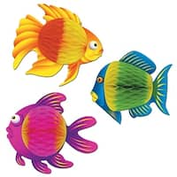 "Club Pack of 12 Vibrant Color-Brite Tropical Fish Hanging Decorations 8"" - Blue"