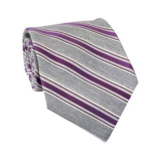 Calvin Klein Great Greige Striped Classic Silk Blend Tie Grey and Purple - One Size Fits most