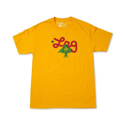 LRG Mens T-Shirt Yellow Size Small S Graphic Tee Logo Printed Crewneck