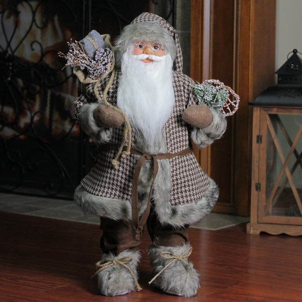 """24"""" Woodland Snowshoe Standing Santa Claus Christmas Figure with Gift Sack - brown"""