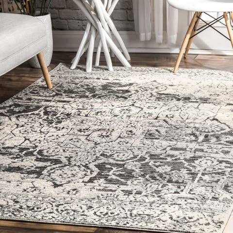 nuLOOM Beige Transitional Distressed Paisley Forest Area Rug